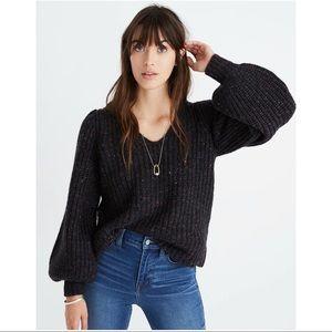 Madewell V-neck Puff-Sleeve Sweater